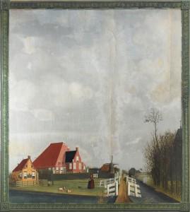 Beschilderd behangsel met voorstelling van een boerderij te Ypecolsga